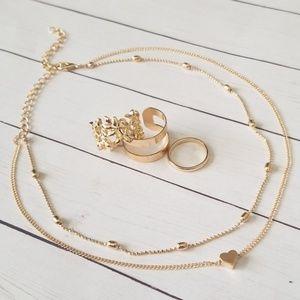 2/$25 ♡ Choker Necklace & Ring Set NWOT